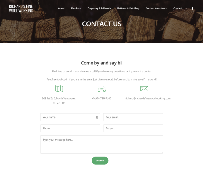Richard's Fine Woodworking Contact Page
